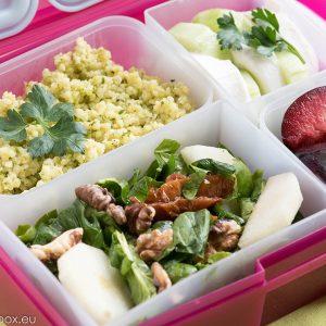 Едно бързо и лесно меню за кутиите lunchbox, с пълноценна храна и баланс. Lunchbox menu Просо с песто без глутен