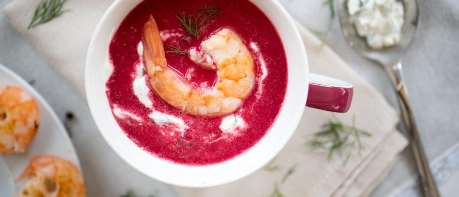 Супа от червено цвекло със скариди