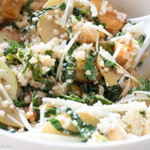 Kale, pumpkin and bulgur salad with pear vinaigrette