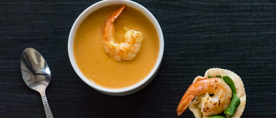 супа тиква със скариди