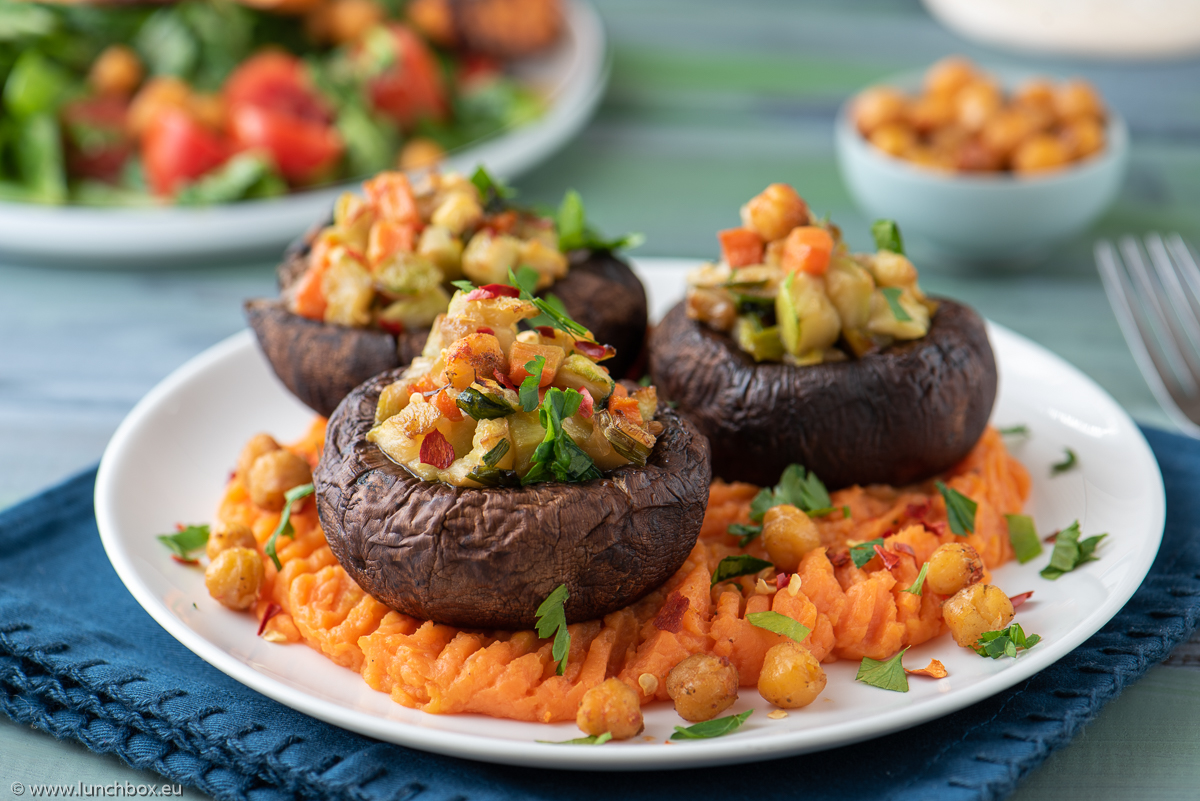 Portobello with vegetables and a sweet potato