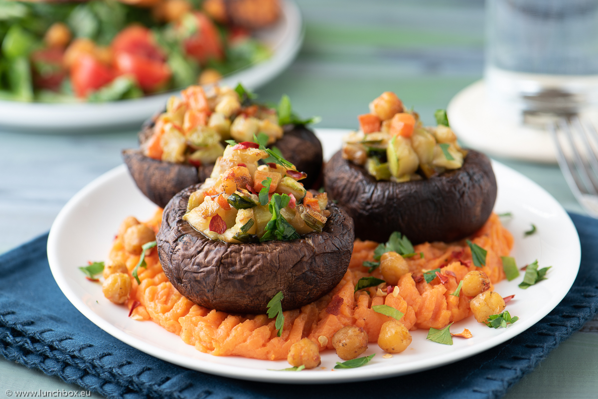 Portobello with vegetables and a sweet potato