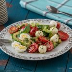 Summer salad with basil and tomatoes