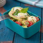 Lunchbox Summer salad with basil and tomatoes