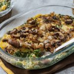 Layered Polenta with mushrooms, ricotta, and spinach