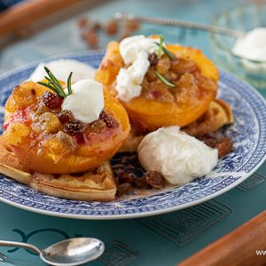 Raisin-Stuffed Peaches with Amaretto